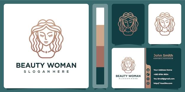 Marchio di lusso della donna della stazione termale di bellezza con il modello del biglietto da visita