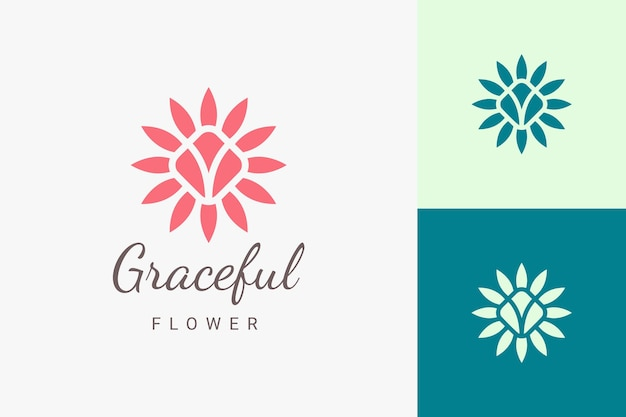 Beauty spa o logo yoga nel logo floreale piatto e astratto
