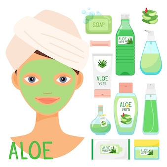Trattamenti di bellezza con cosmetici biologici all'aloe vera