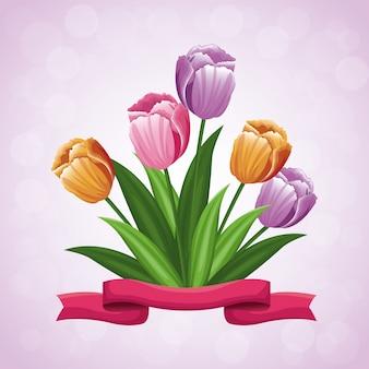 Ornamento del nastro del fiore dei tulipani di bellezza