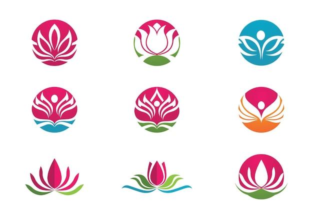 Bellezza vector fiori di loto design logo modello icona