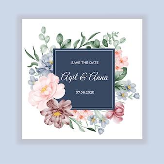 Carta di invito rotondo floreale di nozze di bellezza con fiori rosa bordeaux blu