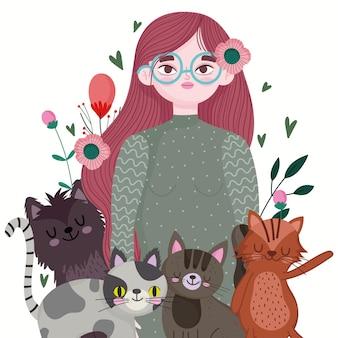 Fumetto della donna di bellezza con vari gatti, illustrazione dell'animale domestico degli animali