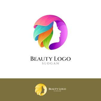 Design del logo colorato della donna di bellezza