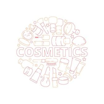Oggetti cosmetici della donna di bellezza nel concetto di progetto di vettore dello smalto della crema del rossetto dell'ombretto di forma del cerchio