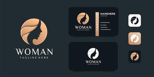 Illustrazione di progettazione di logo dell'oro negativo del fronte della donna di bellezza.