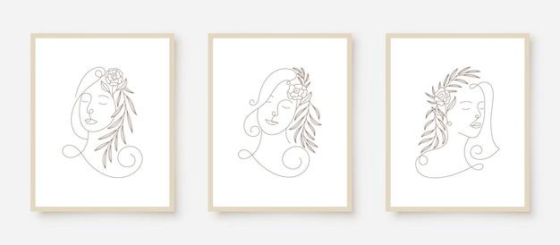 La donna di bellezza si affaccia nella cornice floreale di arte di linea