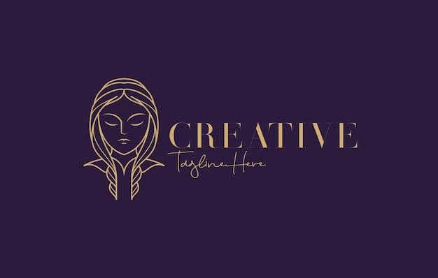 Bellezza donna moda logo design. illustrazione del volto di donna di bellezza artistica. disegno vettoriale.