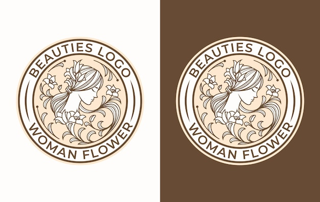 Design del logo del fiore della donna di bellezza