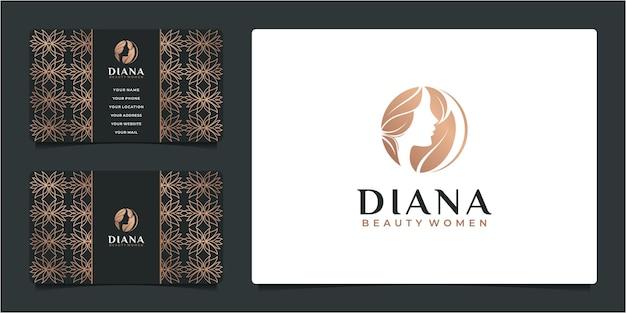 Bellezza donna parrucchiere oro design logo sfumato e biglietto da visita