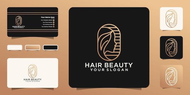 Disegno di marchio e biglietto da visita del salone di capelli della donna di bellezza