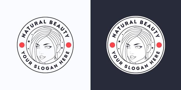 Modello di logo bianco per parrucchiere di bellezza donna