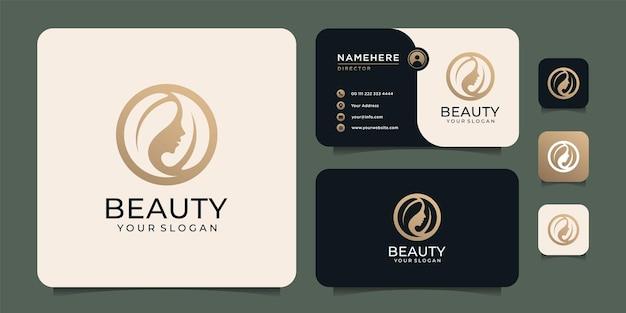 Design del logo dell'acconciatura della donna di bellezza con biglietto da visita per gli elementi del salone della gente della natura