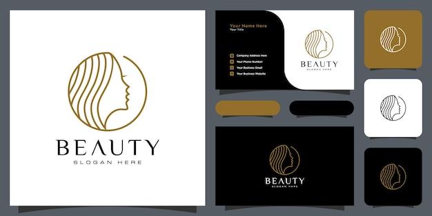 Design del logo dell'acconciatura della donna di bellezza con il biglietto da visita per gli elementi del salone della gente della natura