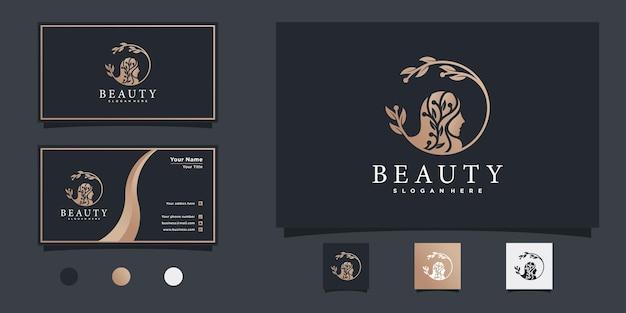 Logo della donna di bellezza con il concetto di arte della linea di fiori di colore sfumato moderno e fresco per il salone di bellezza vettore premium