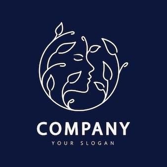 Logo della donna di bellezza per la cura della pelle e la spa del tuo salone di affari Vettore Premium
