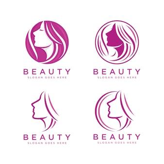 Modello di logo faccia di bellezza della donna