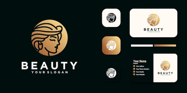 Donne di bellezza, cura della bellezza, viso delle donne, colore oro, eleganza, logo e biglietto da visita