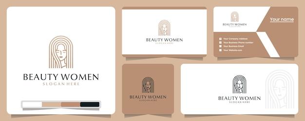 Donne di bellezza, eleganti, minimaliste, ispirazione per il design del logo