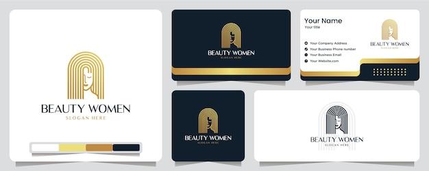 Donne di bellezza, colore oro, lusso, banner, biglietti da visita e design del logo