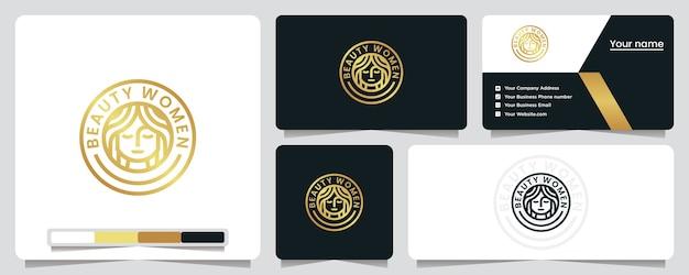 Donne di bellezza, colore dorato, tondeggiante, lusso, elegante, ispirazione per il design del logo