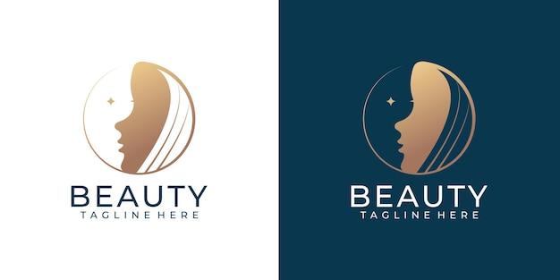 Modello di logo di stile di arte della linea del cerchio dei capelli delle donne di bellezza