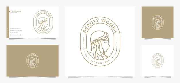 Logo e biglietto da visita di bellezza donne capelli