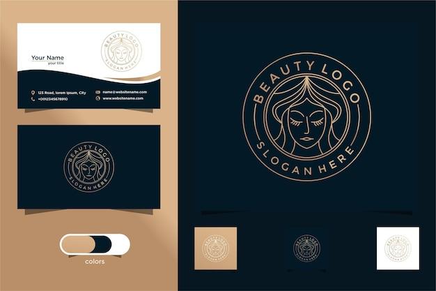 Beauty women line art logo design e business card buon uso per il logo del salone e della spa