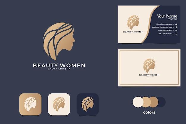 Disegno di marchio di donne di bellezza e biglietto da visita