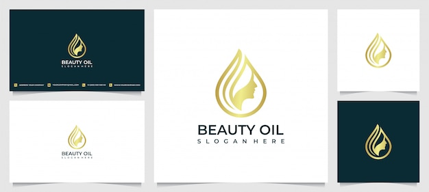 Ispirazione per il design del logo delle donne di bellezza per la cura della pelle, i saloni e la spa, con il concetto di goccioline di olio