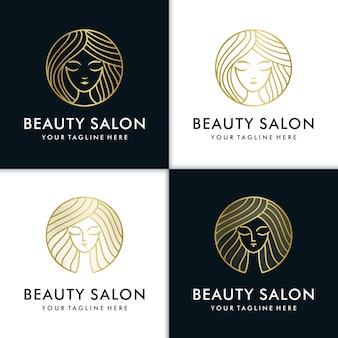 Bellezza donne logo design ispirazione per la cura della pelle, yoga, cosmetici, saloni e spa, con il concetto di linea