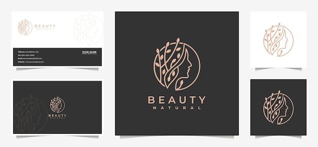 Ispirazione per il design del logo delle donne di bellezza con biglietto da visita per la cura della pelle, saloni e spa, con combinazione di foglie