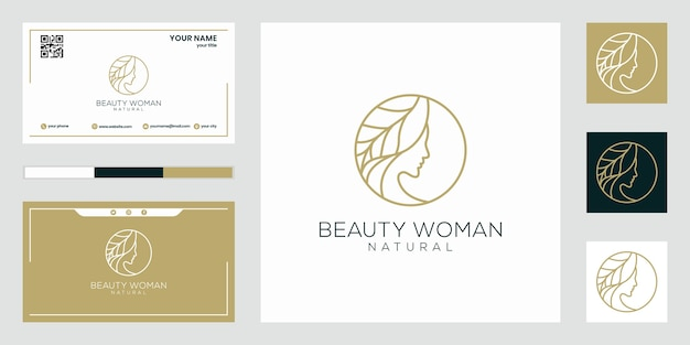 Design del logo delle donne di bellezza, con il concetto di linea