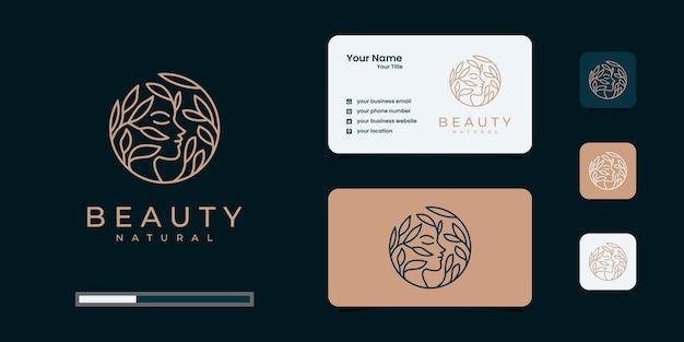 Ispirazione del logo delle donne di bellezza con biglietto da visita per la cura della pelle, saloni e spa, con combinazione di foglie