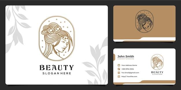 Design del logo di lusso monolinea delle donne di bellezza e modello di biglietto da visita