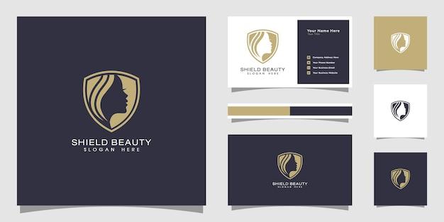 Logo e biglietto da visita dello scudo delle donne di bellezza.