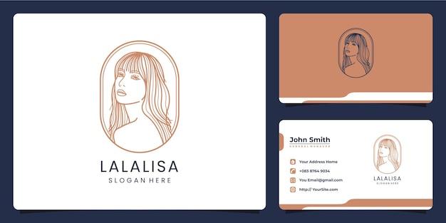 Design e biglietto da visita del logo monolinea di lusso delle belle donne