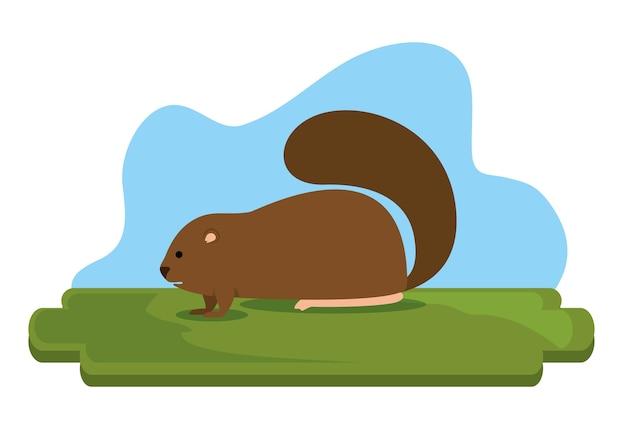 Progettazione castana di illustrazione di vettore di scena animale del castoro