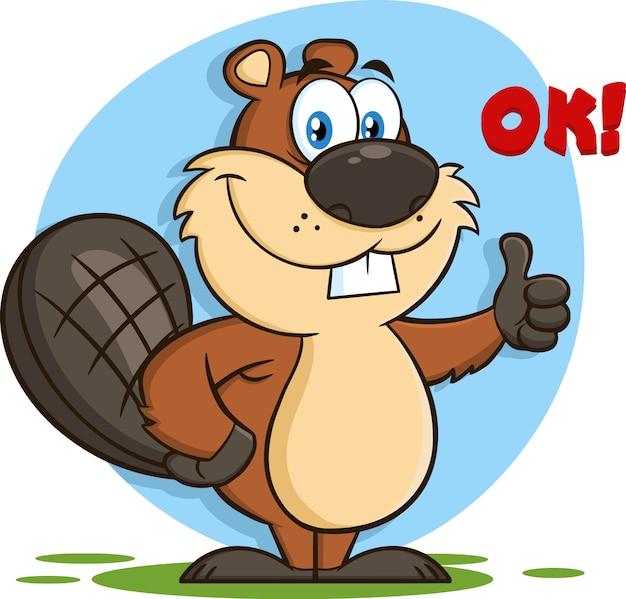 Personaggio mascotte dei cartoni animati del castoro che dà un pollice in su. illustrazione