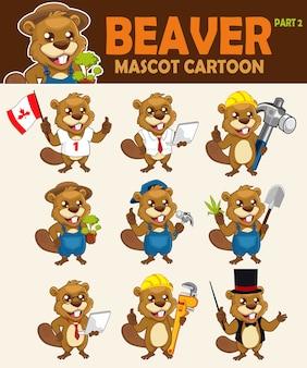 Simpatico cartone animato mascotte castoro