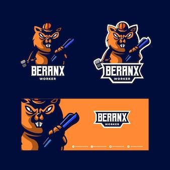 Logo della mascotte di beaver esport