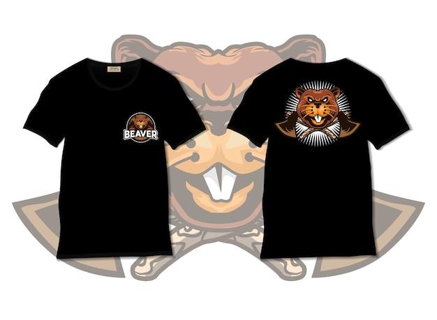 Illustrazione di castoro con design tshirt, disegnato a mano Vettore Premium