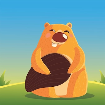 Beaver mammifero roditore cartoon animal wild illustration