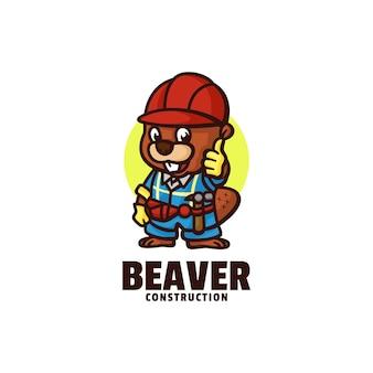 Logo di stile del fumetto della mascotte del castoro