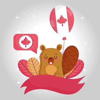 Castoro con palloncino canadese e design a bolle