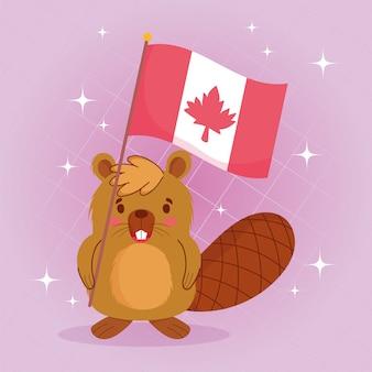 Castoro con la bandiera canadese del giorno felice del canada