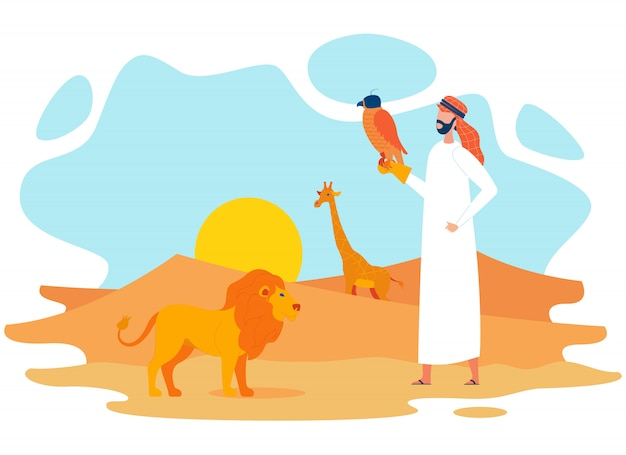 Beduino con falco nel deserto piatto personaggio Vettore Premium