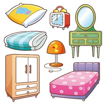 Set di elementi della camera da letto