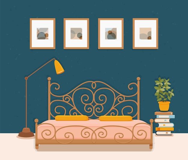Interno camera da letto. illustrazione colorata di mobili da appartamento hotel letto, comodino, lampada, pianta della casa.