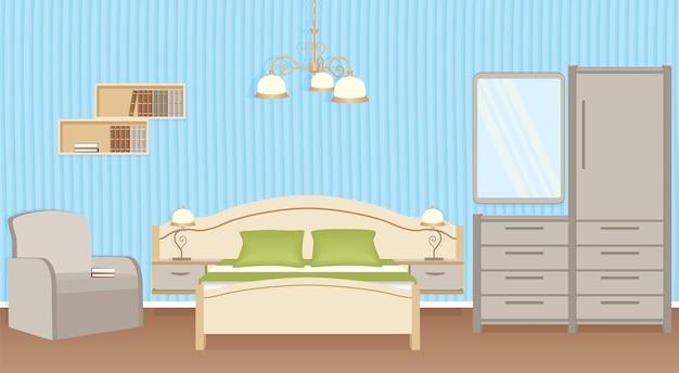 Interior design della camera da letto con letto, poltrona, lampade da parete e mobili per camera da letto. progettazione di ambienti domestici.